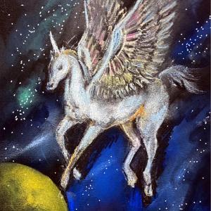 ☆パステルで描く宇宙とユニコーン~グランディングには土いじり~