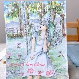 ☆またまたコピック天使系アート〜ブランコの天使?女神?