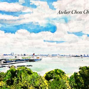 ⭐︎横浜港、今空を塗ってみました!