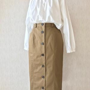 フロントボタンロングタイトスカート/ウォールナッツ ってネーミング長い!