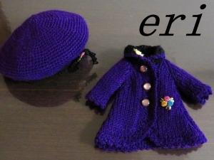 ブライス人形用 毛糸Aラインコート・紫
