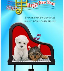 ペットの切り抜き写真とピアノのテンプレートで可愛い年賀状を作る方法