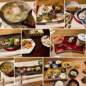 旅館の料理と早朝観光