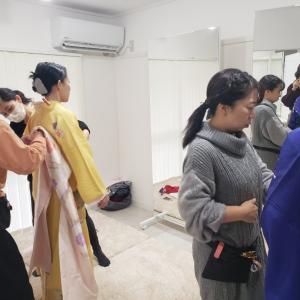 京都・着付けレッスン│成人式に向けて、振袖着付けレッスン追い上げ中(他装・中級)