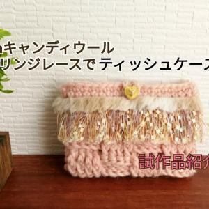 【かぎ針編み】Seriaキャンディウールとフリンジレースでティッシュケース