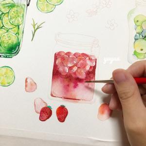 果実の瓶*水彩色塗り(2)