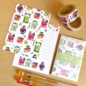 果実の瓶ミニレター、フレークシール、メッセージカード