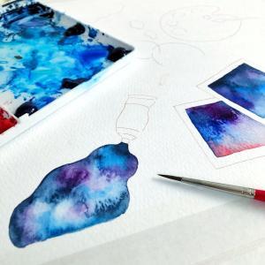 星空の絵の具*水彩イラスト(デザフェス)