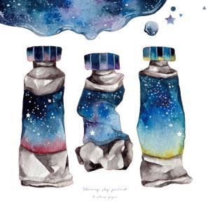 星空の絵の具*水彩イラスト2(デザフェス)