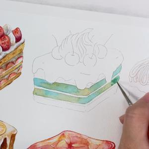 チョコミント スクエアケーキ*水彩イラスト