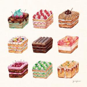 スクエアケーキ*水彩イラスト