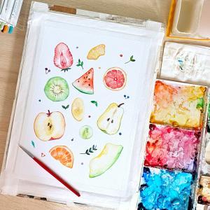 カットフルーツの水彩イラスト