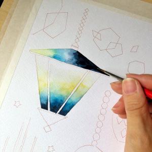 星集めのランプ*水彩色塗り