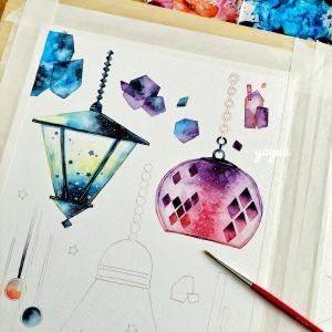 星集めのランプ*水彩色塗り(2)