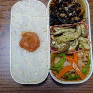ある日のお弁当(豚肉とピーマンとニンジンのオイスターソース炒め)