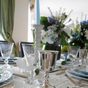 ロマンチックな水色のテーブルデザイン!