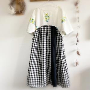 花柄刺繍のドルマンワンピ
