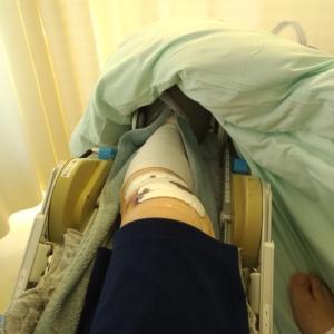 前十字靭帯断絶再建手術 手術4日目 松葉杖歩行練習