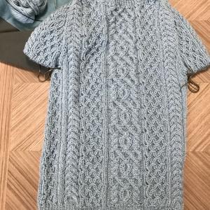 michiyoさん「S・M・L・XL KNITサイズの選べる手編みの本」よりB.アランプルオーバーの途中経過