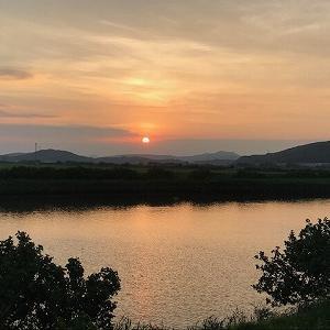 台風が去った後のきれいな夕日