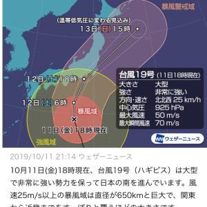 ピンチ!!台風19号でまた飛行機が欠航に(T . T)