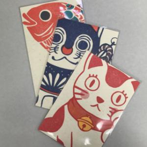 消しゴム版画・梅屋 モリカナエさん「レトロ印刷ポストカード」