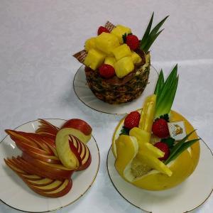 文旦で作るスワン リンゴのスワン