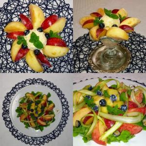 桃パフェと桃サラダ