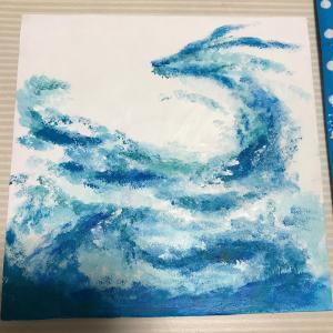 【アクリル画】龍その4 水の龍