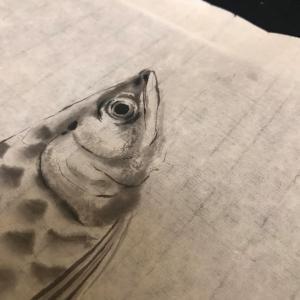 月イチのお楽しみ 翠龍塾にて墨絵を習いました
