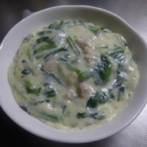 アスパラ菜と鶏肉のクリーム煮