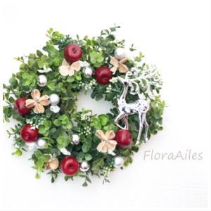 ◆クリスマスが過ぎても飾れる赤いリンゴのリースです♪