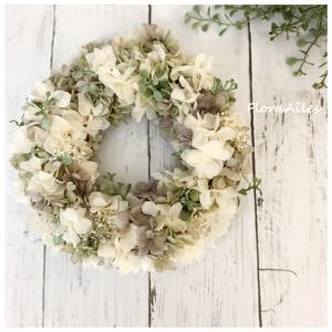 ◆涼し気な紫陽花リースをお作りしました♪お誕生日のプレゼントとしてオーダー頂きました