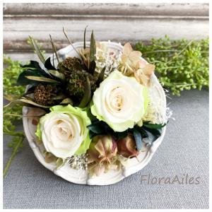 ◆涼しい気分になって頂けると嬉しいです。。。グリーンとお花のアレンジです♪