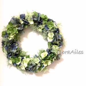 ◆紫陽花とグリーンのリースです♪お届けしました