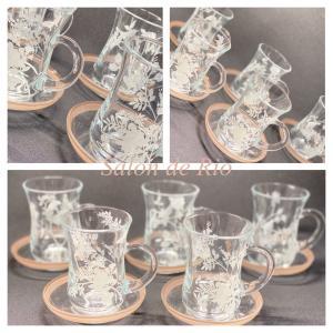 ポーセラーツ作品♡ガラスのカップ&ソーサー