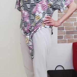 残りニットで裾にリボンフレンチスリーブTシャツ(生徒作品)