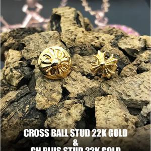 クロムハーツ 22Kゴールド ピアス / CHプラスクロス と CHクロスボール