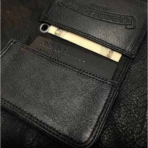 クロムハーツ 財布/カードケース #2 GRMT/スクロール セメタリーレザーパッチ ブラック!