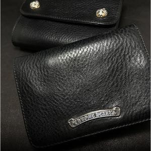 クロムハーツ財布/ウェーブ ミニ & ジョーイのブラック ヘビー レザー 在庫あり!即日配送も!