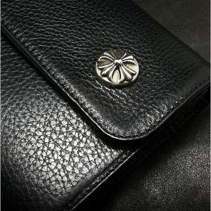 クロムハーツ 財布 / ウェーブ ウォレット クロスボタン ブラック ヘビー レザー!在庫あり!