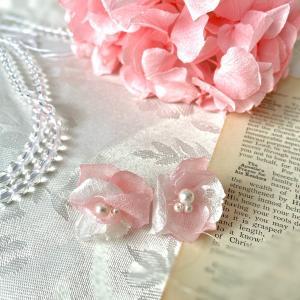 色違いも可愛い。ピンクの紫陽花シフォンフラワーアクセサリー