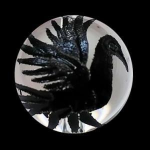 八咫烏(ヤタガラス)水晶手彫り玉オールブラックカラー