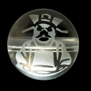閻魔大王 水晶サンドブラスト 彫刻ビーズ