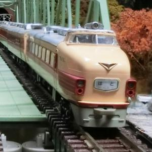 TOMIX複線曲弦大トラス鉄橋に国鉄181系 直流特急形電車 「しおじ・はと」が走る。