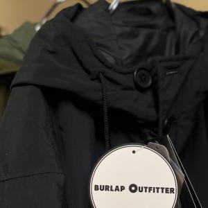 レトロなハイテクBURLAP OUTFITTER  BUTTON FRONTPARKA LONG