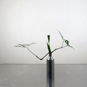 無機質な水差しに、枝の屈折を生かして
