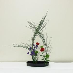 生徒さん エニシダで、花を包み込むように