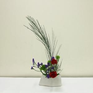 生徒さん エニシダは少なめに、三色の花をメインに