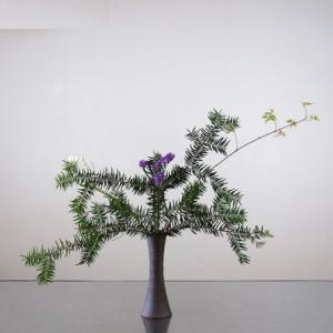 モミの枝の面白さを、シンプルな筒に